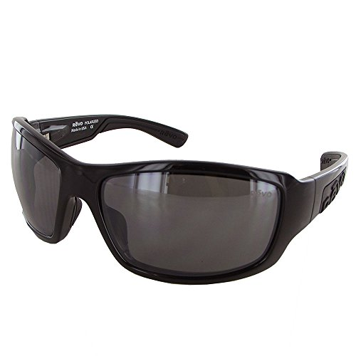 Revo Straightshot RE 1005 01 GY Polarized Wrap Sunglasses, Crystal Black, 64 mm