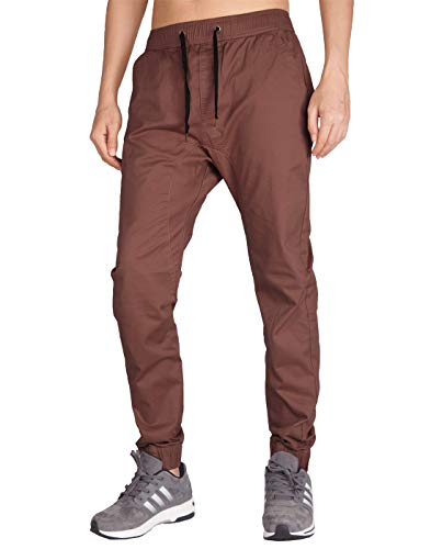 ITALY MORN Men's Chino Jogger Skinny Casual Pants S Red Bronze