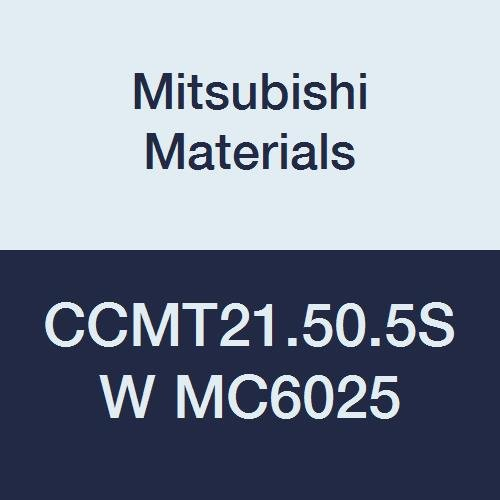 Mitsubishi Materials CCMT21.50.5SW MC6025 CVD Coated Carbide CC TYPE Positive Turning Insert with Hole, Rhombic 80°, 0.25'' IC, 0.094'' Thick, 0.008'' Corner Radius, SW Breaker (Pack of 10)