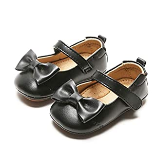 Kiderence Baby Girls Prewalker Mary Jane Flats Bowknot Princess Dress Shoes (Infant/Toddler)