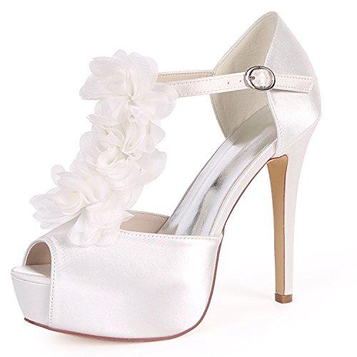 Chunky Ferse Hochzeit Hohe cm Absätzen Wie Satin 5 Weiß Kätzchen Abend Niedrigen Schuhe YC Frauen Braut L Ferse 12 Schnalle qZpUg1w