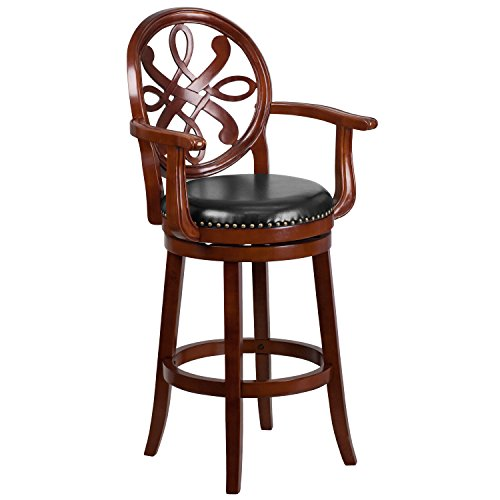 Flash Furniture 30'' High Cherry Wood Barstool with Arms and Black Leather Swivel Seat ()