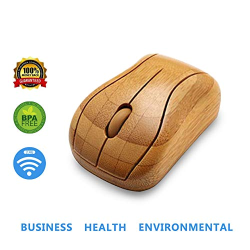 Bamboo Mouse 2.4 GHz Wireless Optical Mouse Mice Healthy Sweat-Resistant Anti-Radiation Wireless Mouse for Laptop PC Computer Gift