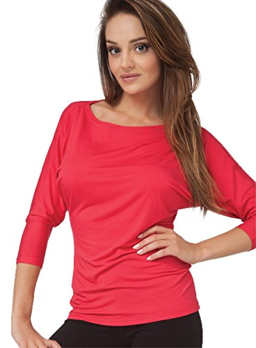Sesto Senso Femminile, la maglietta da donna Andrea estremamente comoda, taglio tipo kimono, manica a 3/4. Poppy Red
