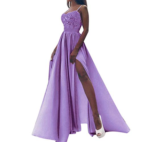 Sunhusing Ladies Sexy Lace Solid Color Sleeveless Sling Maxi Gown Evening Party Ball Prom Wedding Dress