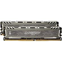 Ballistix Sport LT 16GB Kit (8GBx2) DDR4 3000 MT/s (PC4-24000) CL16 SR x8 DIMM 288-Pin Memory - BLS2K8G4D30BESBK (Gray)
