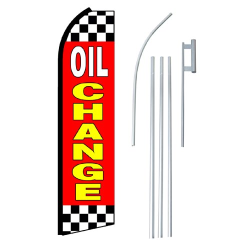 "NEOPlex - ""Oil Change"" Complete Flag Kit - Includes 12' Swooper Feather Business Flag With 15-foot Anodized Aluminum Flagpole AND Ground Spike"