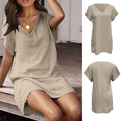 iCJJL Women's Simple Plain Casual Summer T Shirt Dress Loose Short Sleeve V Neck Solid Flowy Beach Tank Mini Sundress