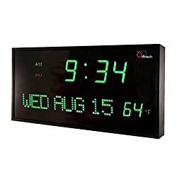 DBTech JID0316GRN Big Oversized Digital Red LED Calendar Clock with Day Date and Temperature (Green)