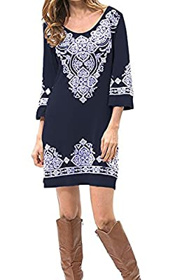 Our Precious Women's Casual 3/4 Sleeve Scoop Neck Heart Print Tunic Dress