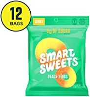 SmartSweets Peach Rings 1.8 Oz Bags (Box Of 12), Candy With Low-Sugar (3g) & Low Calorie (80)- Free of Sugar Alcohols & No A