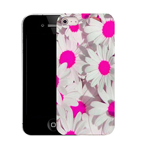 Mobile Case Mate IPhone 4 clip on Silicone Coque couverture case cover Pare-chocs + STYLET - pink daisy array pattern (SILICON)