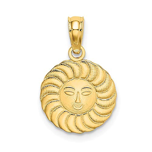 14k Yellow Gold Sun Pendant Charm Necklace Celestial Fine Jewelry Gifts For Women For Her