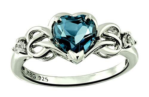 RB Gems Sterling Silver 925 Ring Genuine GEMS Heart Shape 7 mm 1.65 Cts Rhodium-Plated Finish, Knot Style (10, - Shape Heart Ring Plated Rhodium