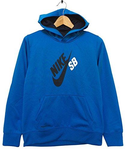 Nike SB Youth/Boys Therma-fit Pullover Fleece Sweatshirt Hoodie, Sky Blue/Black Solid, S
