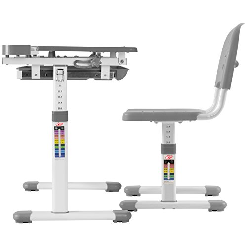 41wuEH949vL - VIVO Height Adjustable Children's Desk and Chair Set, Grey