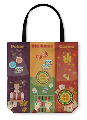 Gear New Shoulder Tote Hand Bag, Casino Banner Poker Game Playing Cards Roulette, 18x18, 5649808GN