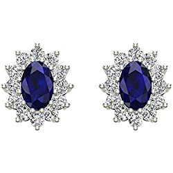 Blue Sapphire Diamond Stud Earrings Classic Oval Cut 14K Gold 1.50 cttw