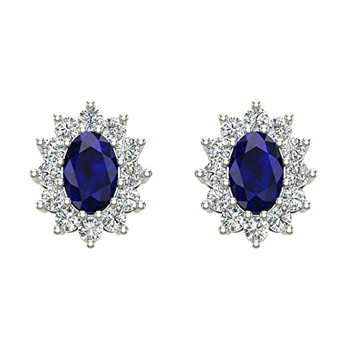 Blue Sapphire Birthstone Earrings 14K White Gold September Distinct Halo Studs 1.50 carat total weight Screw Back Posts -