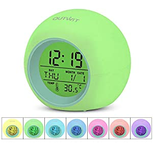 OUTWIT Kids Alarm Clock【Updated Version】, Wake Up Digital Clock for Kids, 7 Colors Changing Bedside Clock for Boys Girls Bedroom, with Indoor Temperature Calendar, Touch Control, Best Xmas Gifts