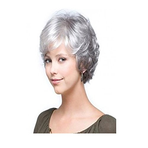 Braided Renaissance Wig (Longlove Short Gray White Natural Wavy Fluffy Curly Human Hair Wig for Women and Grandma)