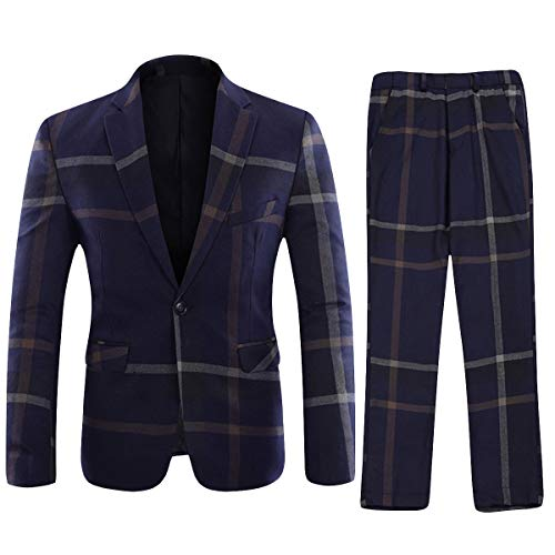 YFFUSHI Mens Plaid 2 Piece Suit Set Blazer Jacket Tux Vest Suit Pants Navy X-Large ()