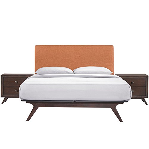 Modway Tracy Mid-Century Modern Wood Platform Queen Size Bed with Two Nightstands in Cappuccino Orange