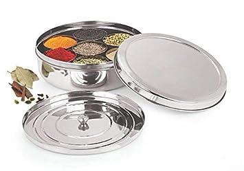 Silver 16 cm Zinel Masala Dabba Bo/îte /à /épices//avec 7/compartiments et 2/couvercles en acier inoxydable