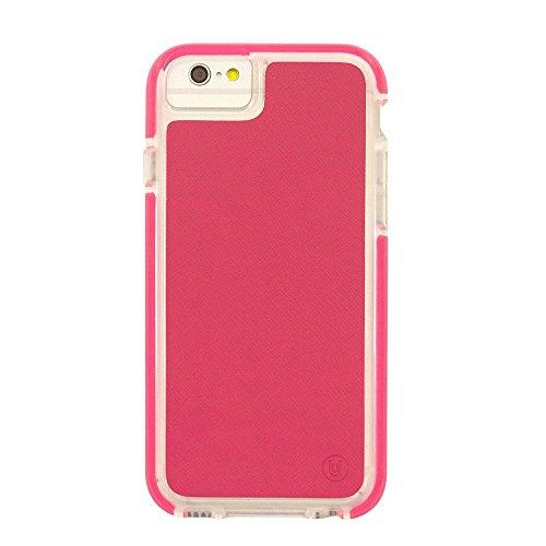 Uunique Armour Saffiano PU Leder Hard Shell Cover Schutzhülle für iPhone 6/6S–Pink
