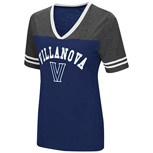 Colosseum Women's NCAA Varsity Jersey V-Neck T-Shirt-Villanova Wildcats-Blue-Medium