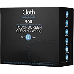 iCloth Large and Multiple Screen Cleaning Wipes - cleaning and protection for office computer monitors, large touchscreens, TVs ( LED or LCD ), aviation and automotive displays | iCA500 | 500 wipe box