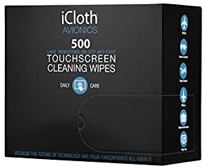 iCloth Large and Multiple Screen Cleaning Wipes - cleaning and protection for office computer monitors, large touchscreens, TVs ( LED or LCD ), aviation and automotive displays   iCA500   500 wipe box