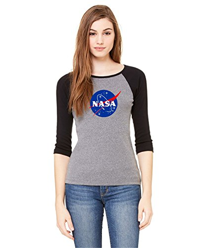 NASA Meatball Logo Ladies Baby Rib 3/4-Sleeve Contrast Raglan T-Shirt Space Shuttle Rocket Science Geek Women Tee (X-Large, Grey/Black)