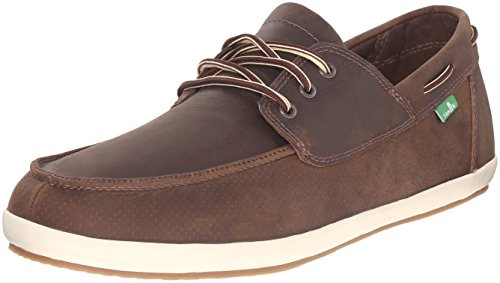Sanuk Men's Casa Barco Deluxe Boat Shoe, Brown, 10 M (Super Deluxe Lace)