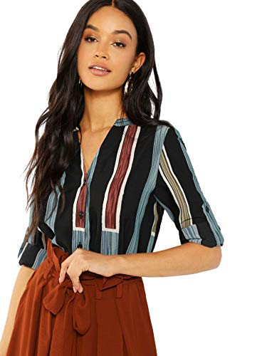 (WDIRARA Women's Casual V Neck Button Up Long Sleeve Striped Blouse Work Shirt Tops Multicolor XS)