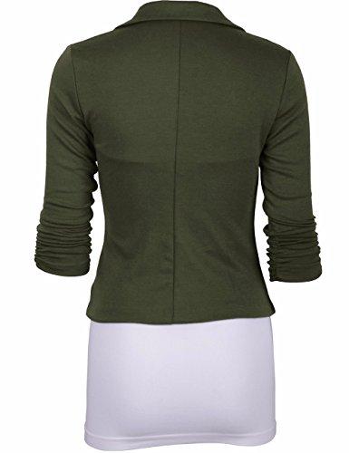 Blazer Army Costume Vert Veste Casual Solide Couleur Manteau Jacket Emma Femme Color Bouton IPzqZz