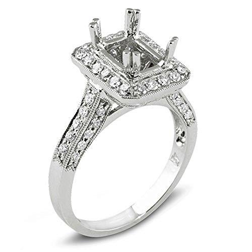- Dazzlingrock Collection 0.85 Carat (ctw) 18k Diamond Semi Mount Bridal Ring Emerald Shape Center (No Center Stone), White Gold