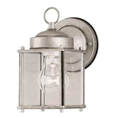 Westinghouse One-Light Exterior Wall Lantern, Steel with Clear Glass Panels