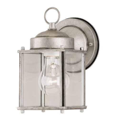 Westinghouse 6468400 One-Light Exterior Wall Lantern, Antique Silver Finish on Steel with Clear Glass Panels For Sale
