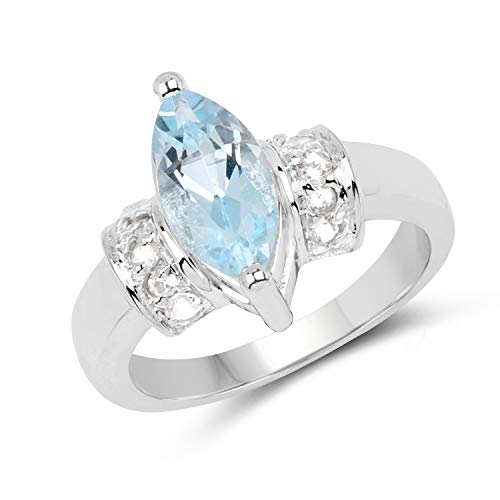 (Bonyak Jewelry Genuine Marquise Blue Topaz and White Topaz Ring in Sterling Silver - Size 8.00 )