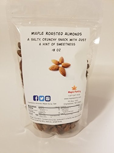 Maple Roasted Almonds - 18 oz - A Salty, Crunchy Snack with just a hint of Mapley Sweetness