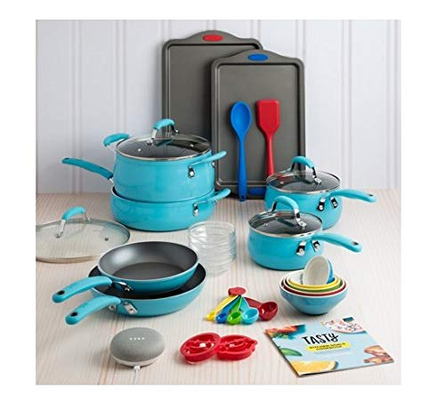 Fancy and Elegant Tasty 30 Piece Heavyweight Non-Stick Cookware Set - Includes Google Home Mini - Blue,Everything You Need for Your Kitchen in One Box