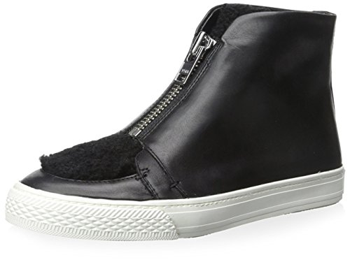 Loeffler Randall Women's High-Top Zip Sneaker, Black/Black, 7.5 M US