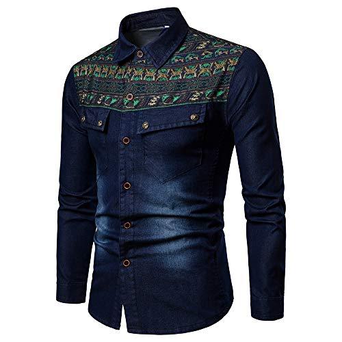 - Elogoog Mens coat Men's Denim Slim Fit Jackets Distressed Long Sleeve Button Casual Work Dress Shirts (L, Dark Blue)