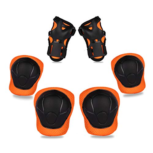 eNilecor Kids Knee Pads Elbow Pads Wrist Guards for Skateboarding Cycling Inline Skating Roller Blading Protective Gear Pack of 6 (Black/Orange)