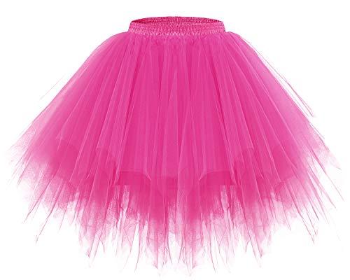 Bridesmay Women's Tutus Tulle Skirt 50s Vintage Petticoat Ballet Bubble Skirts Fuchsia -