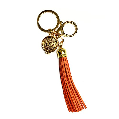 Greek Sorority Merchandise (Alpha Gamma Delta Sorority Fringe Tassel Keychain with Letters Key Attachment Alpha Gam)