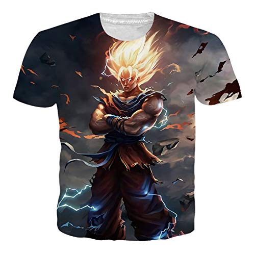 (Ocsoc Cool Anime Character Cartoon Graphic Shirt for Teenager Girls Boys O-Neck Regular Fit Casual Muscle T-Shirt Tee L)