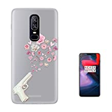 c01461 - White Fake Gun Shooting Floral Roses Flowers Peace Design OnePlus 6 Fashion Trend Case Gel Silicone All Edges Protection Case Cover