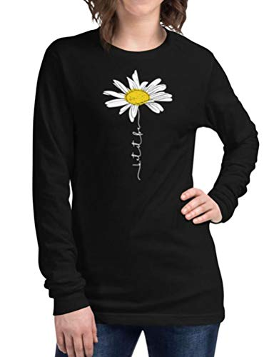 StarVnc Women Sunflower Printed Neck Crew Neck Long Sleeve Fashion Casual Blouse Top